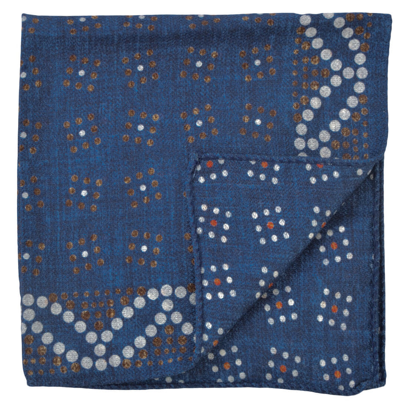 Double Sided Navy With Coloured Dots Pocket Square - Gagliardi