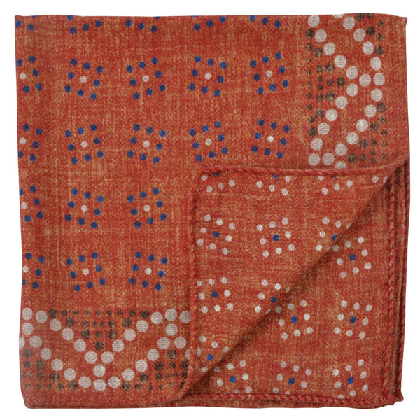 Double Sided Orange W/Coloured Dots Pocket Square