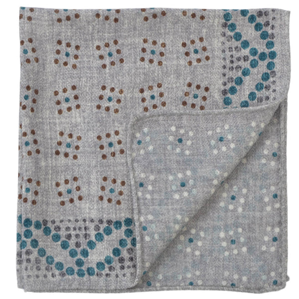 Double Sided Grey With Coloured Dots Pocket Square