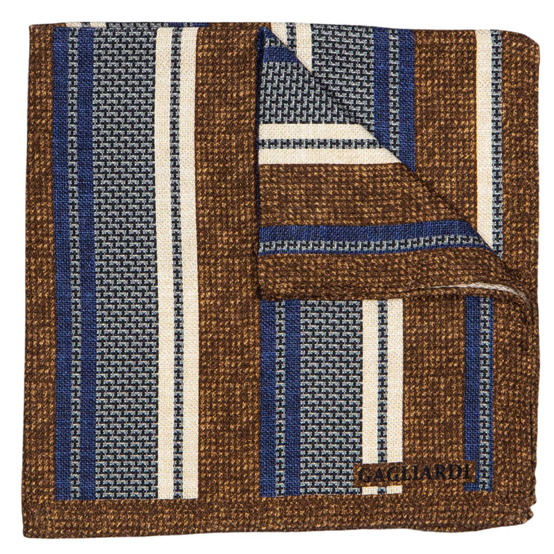 BROWN WITH BLUE AND GREY STRIPES POCKET SQUARE