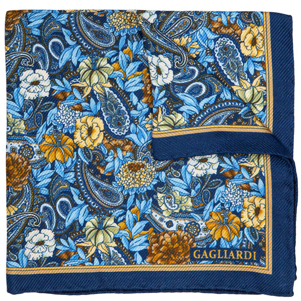 BLUE WITH FLOWERED PATTERN POCKET SQUARE