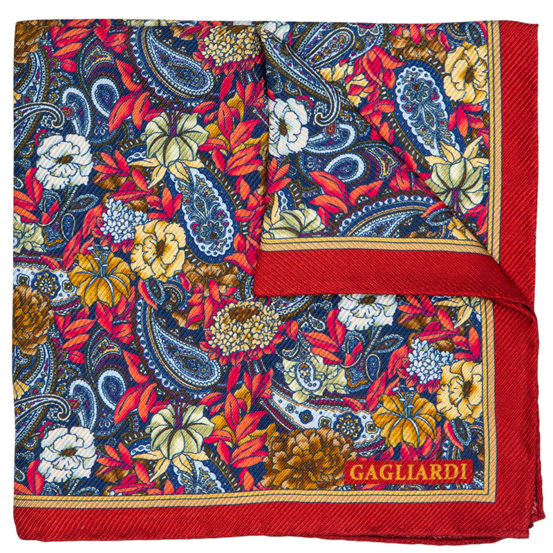 RED WITH FLOWERED PATTERN POCKET SQUARE