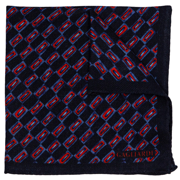 NAVY WITH  RED RECTANGLES POCKET SQUARE
