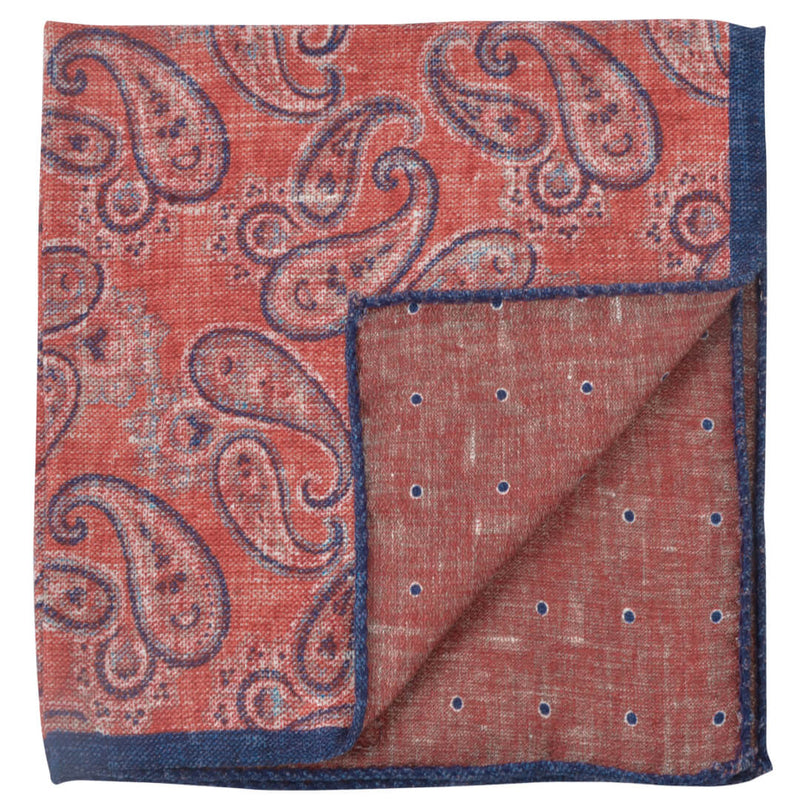 Double Sided Orange With Paisley Pocket Square