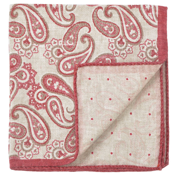 Double Sided Beige With Red Paisley Pocket Square