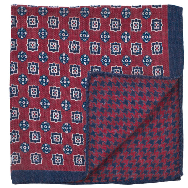 Double Sided Red With Navy Shapes Pocket Square