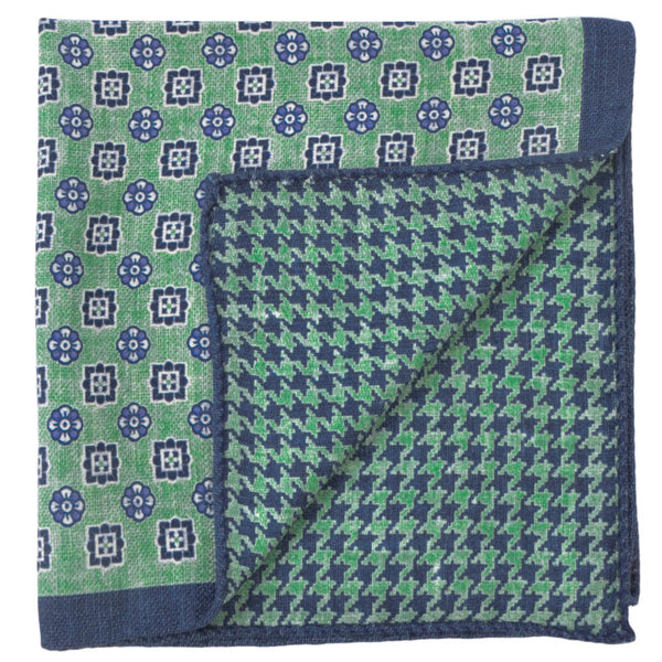 Double Sided Green With Navy Shapes Pocket Square