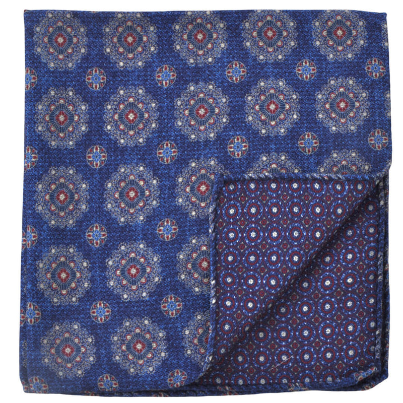 Double Sided Royal W/White Flowers Pocket Square - Gagliardi