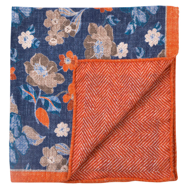 Double Sided Blue With Large Flowers Pocket Square