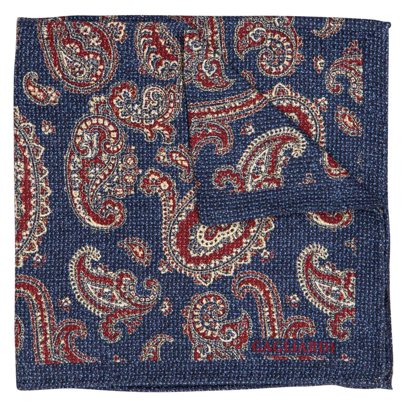 BLUE WITH RED AND BEIGE PAISLEY POCKET SQUARE