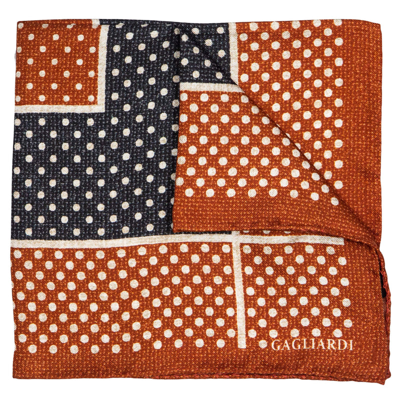 ORANGE AND CHARCOAL WITH WHITE DOTS POCKET SQUARE