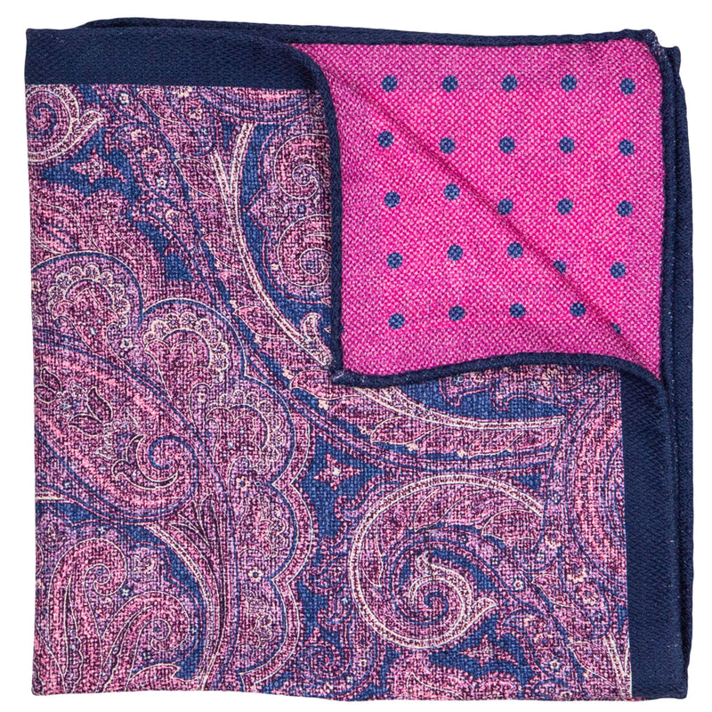 DOUBLE SIDED BLUE AND TAN PAISLEY POCKET SQUARE