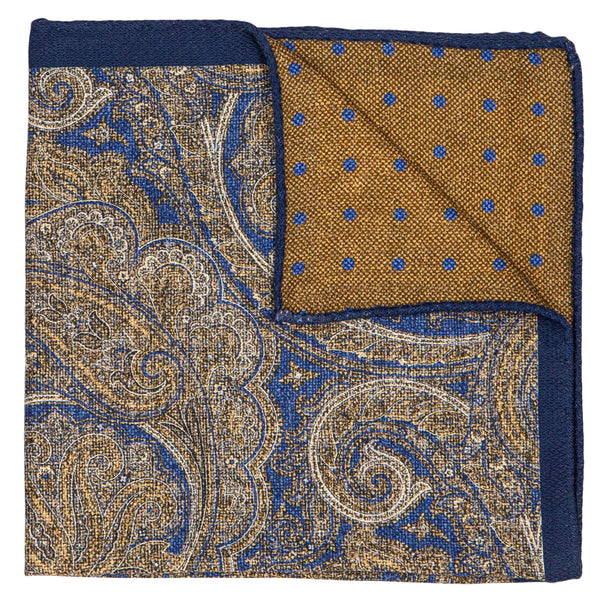 DOUBLESIDE BLUE & RASPBERRY PAISLEY POCKET SQUARE