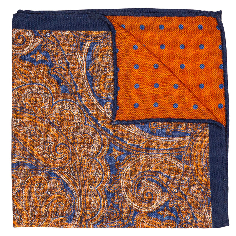 DOUBLE SIDED BLUE AND ORANGE PAISLEY POCKET SQUARE