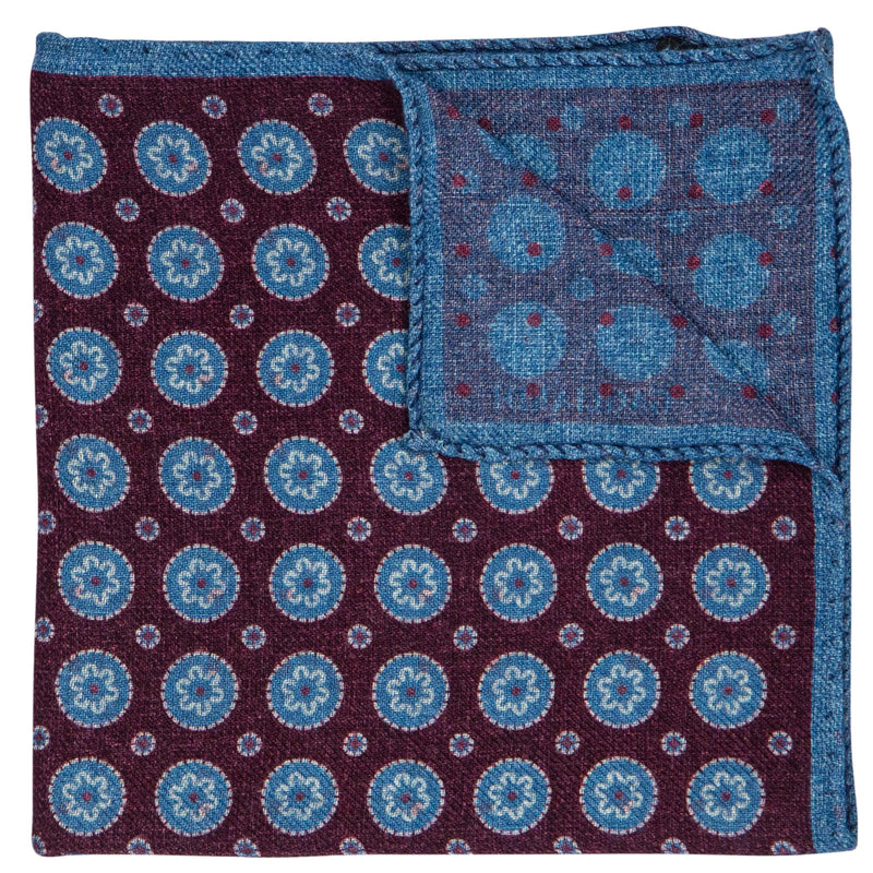DOUBLE SIDED BURGUNDY W/BLUE CIRCLES POCKET SQUARE