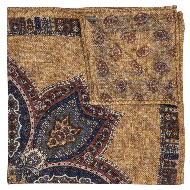 DOUBLE SIDED BEIGE PAISLEY POCKET SQUARE