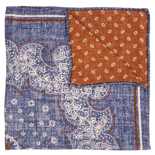 DOUBLE SIDED BLUE WITH CREAM FLOWER POCKET SQUARE