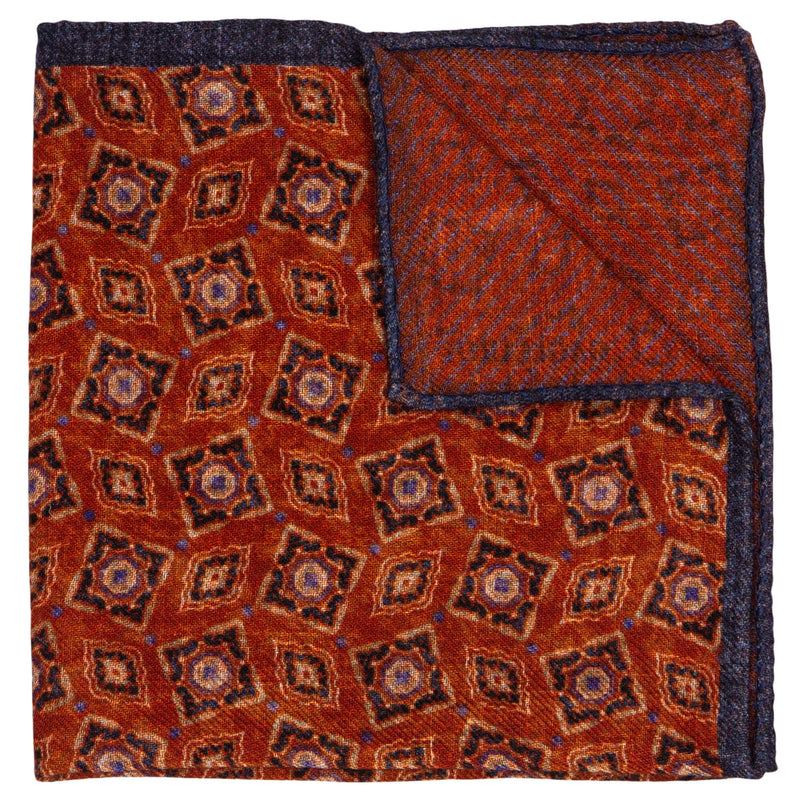 DOUBLE SIDED ORANGE WITH NAVY DESIGN POCKET SQUARE