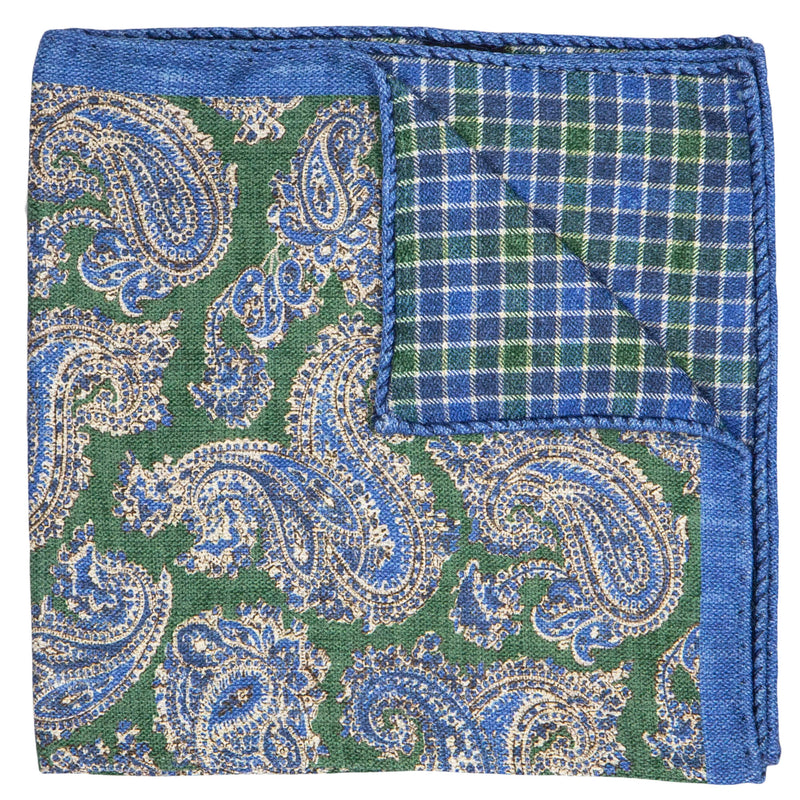 DOUBLE SIDED GREEN WITH BLUE PAISLEY POCKET SQUARE