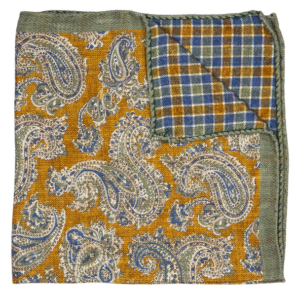 DOUBLE SIDED MUSTARD WITH PAISLEY POCKET SQUARE