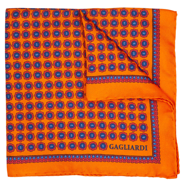 ORANGE WITH NAVY MEDALLIONS POCKET SQUARE