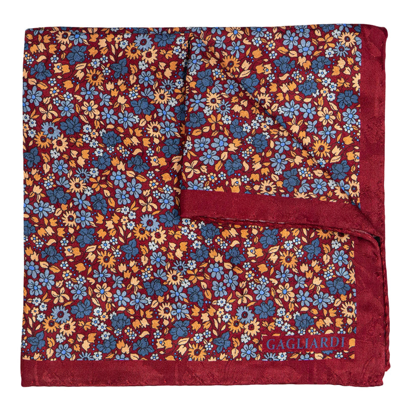 BORDEAUX WITH BLUE AND PEACH FLOWERS POCKET SQUARE