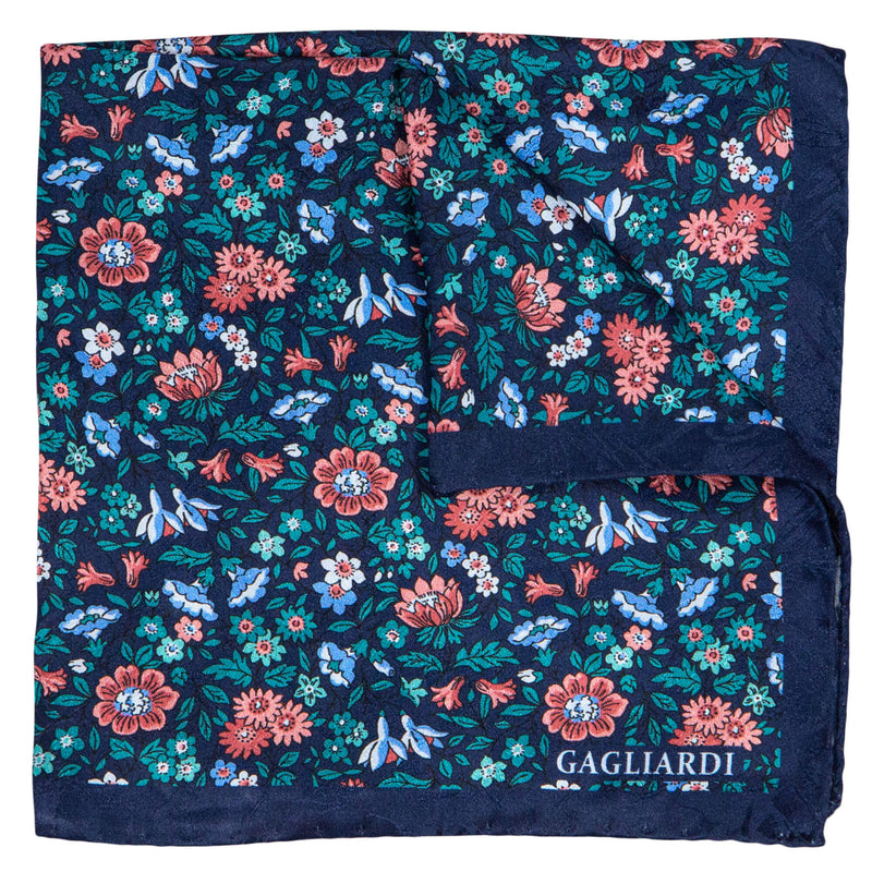 NAVY WITH TEAL AND PINK FLOWERS POCKET SQUARE