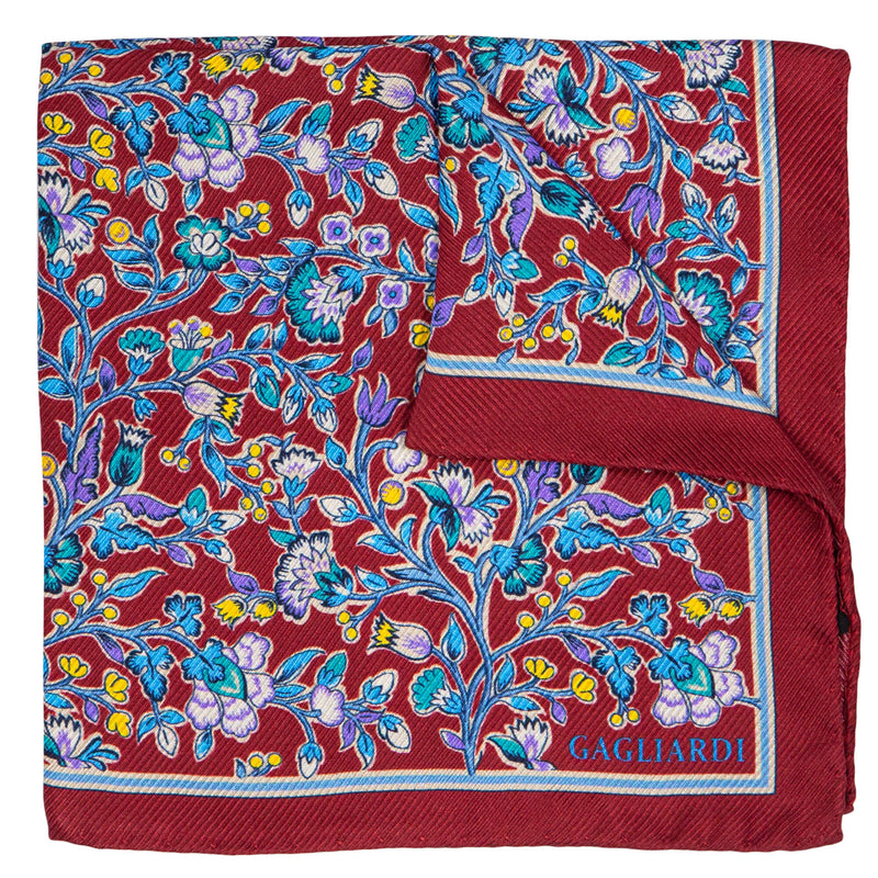 BORDEAUX WITH FLOWERED PATTERN POCKET SQUARE