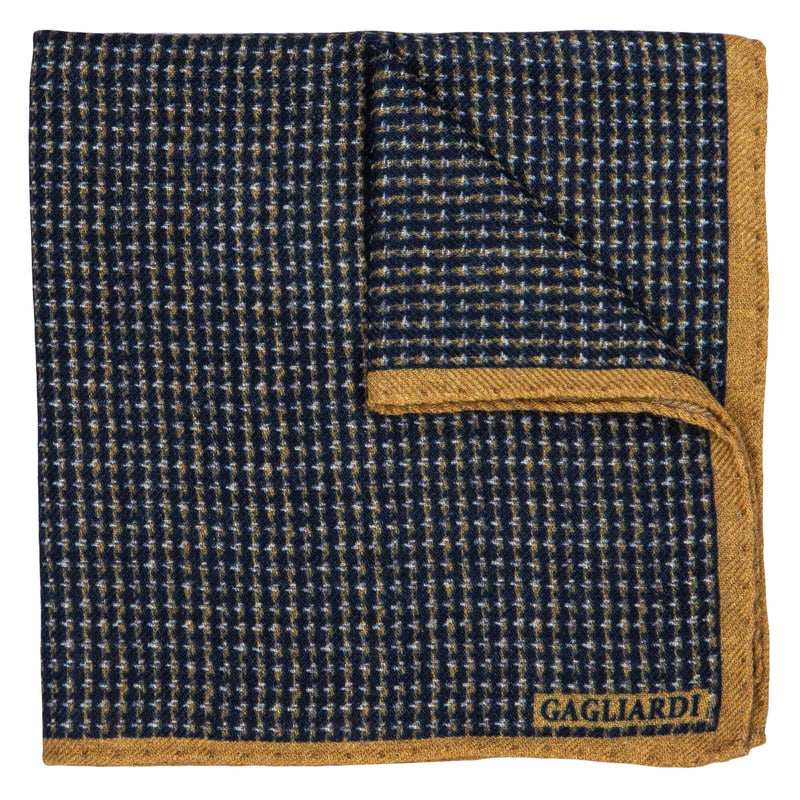 NAVY WITH MUSTARD HORIZONTAL DESIGN POCKET SQUARE