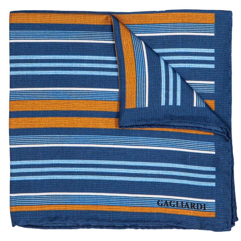 BLUE WITH HORIZONTAL STRIPES POCKET SQUARE