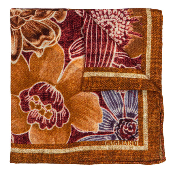 ORANGE WITH BURGUNDY FLOWER DESIGN POCKET SQUARE