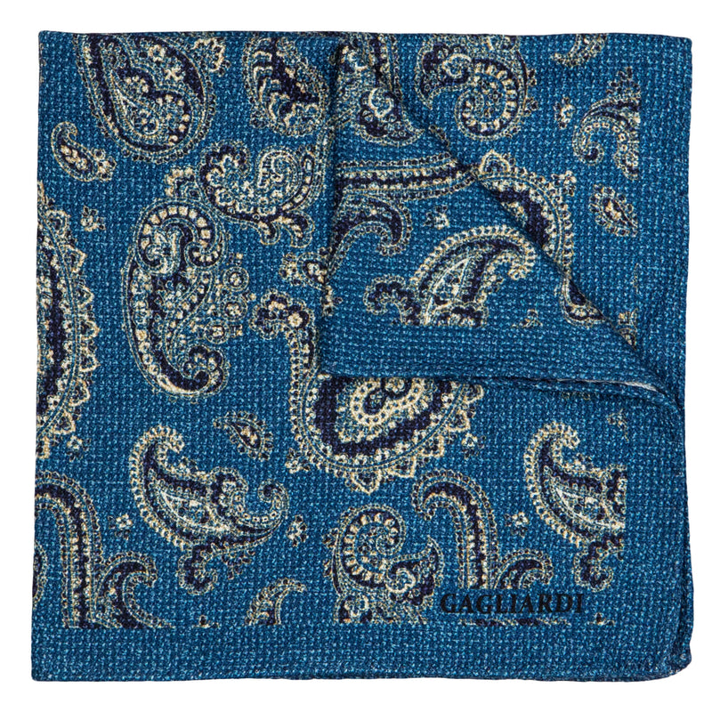 CYAN WITH NAVY AND BEIGE PAISLEY POCKET SQUARE