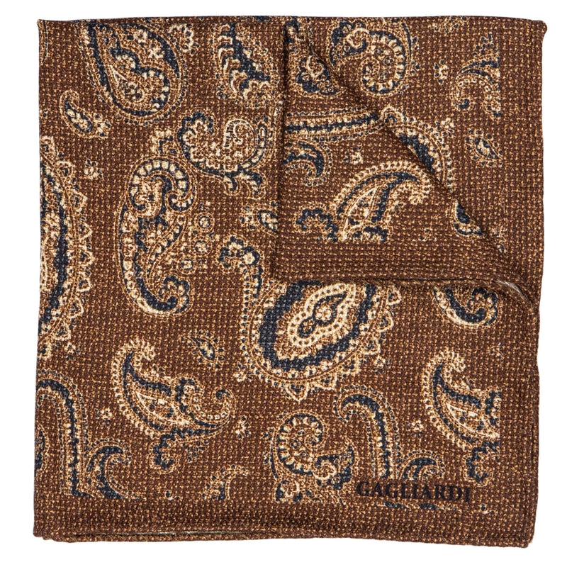 BROWN WITH NAVY AND BEIGE PAISLEY POCKET SQUARE