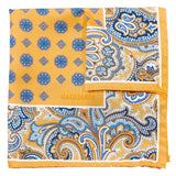 Yellow With Geometric Design Pocket Square