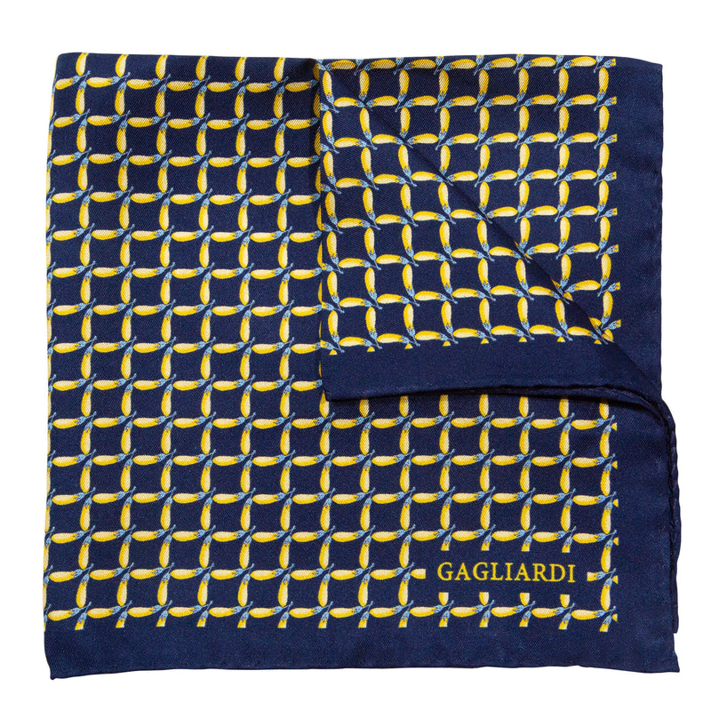 Navy With Yellow Aubergines Pocket Square