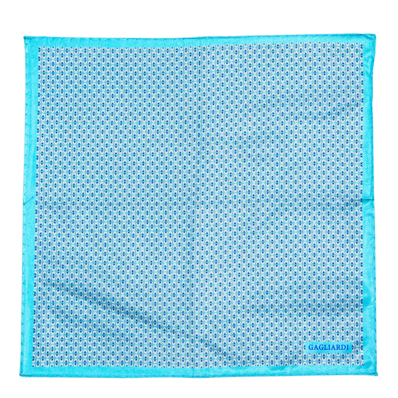 Cyan With White Blue Grey Design Pocket Square