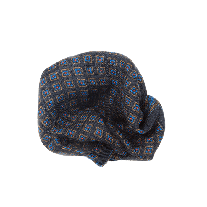 Navy & Camel Flower Pocket Square