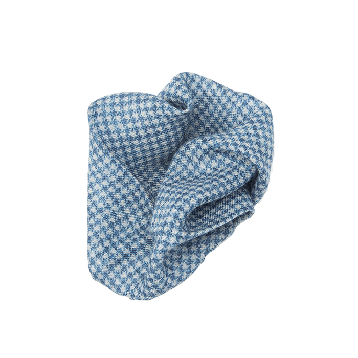 Blue Dogtooth Wool Pocket Square