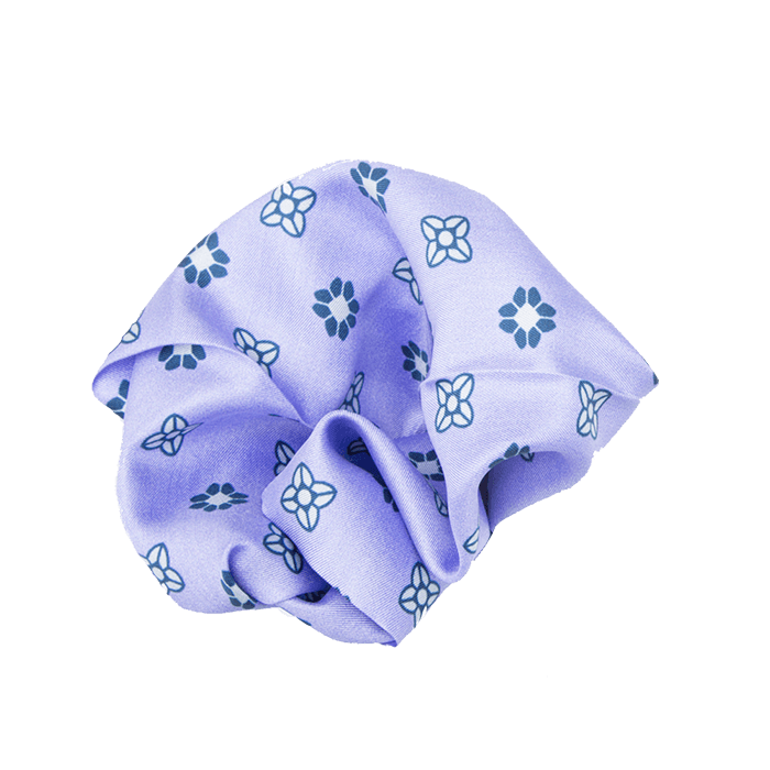 Purple & Stone Flower Pocket Square