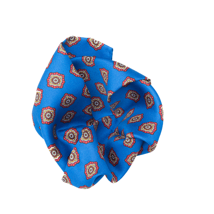 Brown & Mid Blue Geometric Pocket Square - Gagliardi