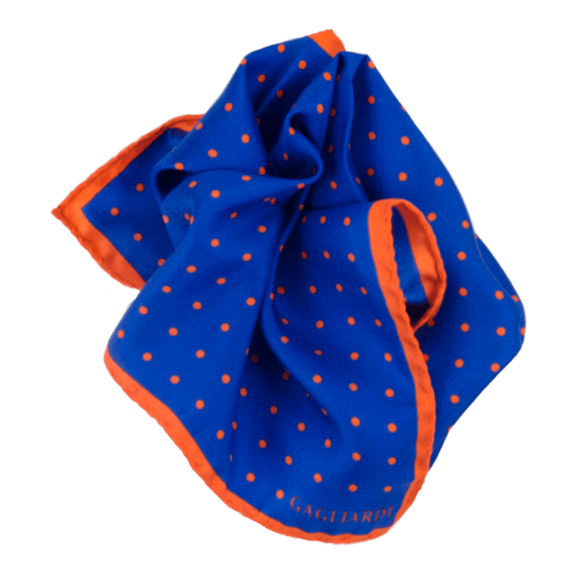 Royal Blue & Orange Polka Dot silk Pocket Square