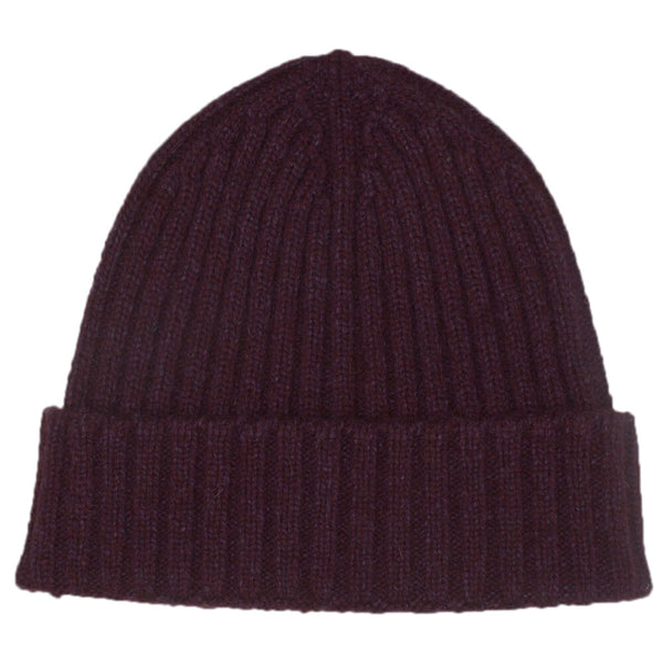 Dark Red Melange Lambswool Beanie