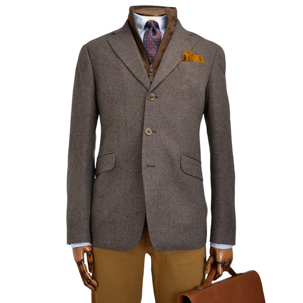 Light Brown Melange Pettorina Jacket - Gagliardi