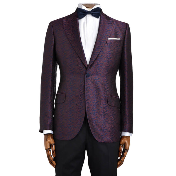 Navy and Red Floral Jacquard Evening Jacket - Gagliardi