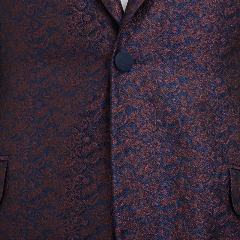 Navy and Red Floral Jacquard Evening Jacket