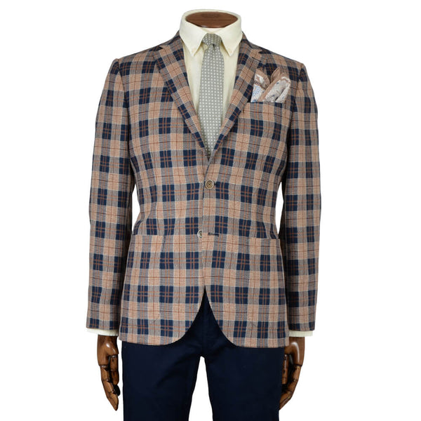 Navy and Orange Check Jacket - Gagliardi