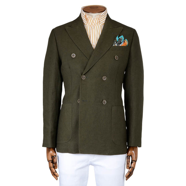Olive Linen Double Breasted Jacket