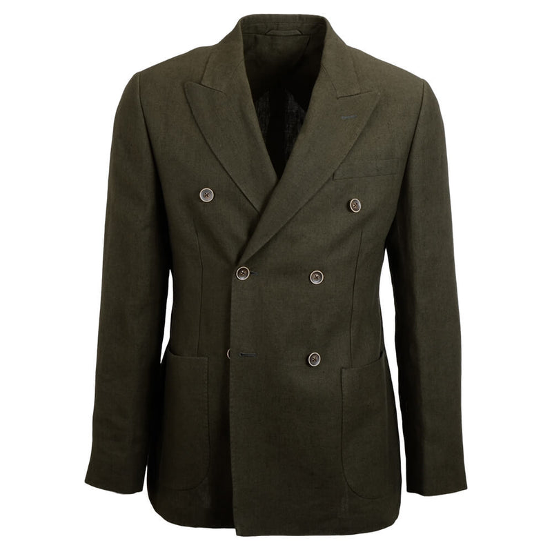 Olive Linen Double Breasted Jacket - Gagliardi