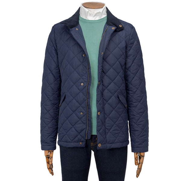 Navy Quilted Plain Diamond Quilt Jacket - Gagliardi