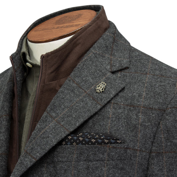 Grey Checked Jacket with Pettorina - Gagliardi